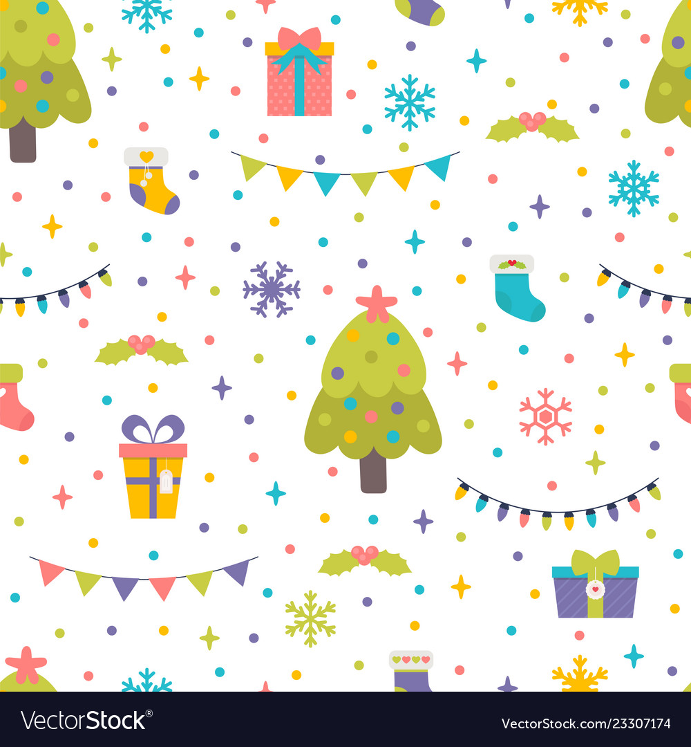 Seamless pattern with christmas tree gifts and