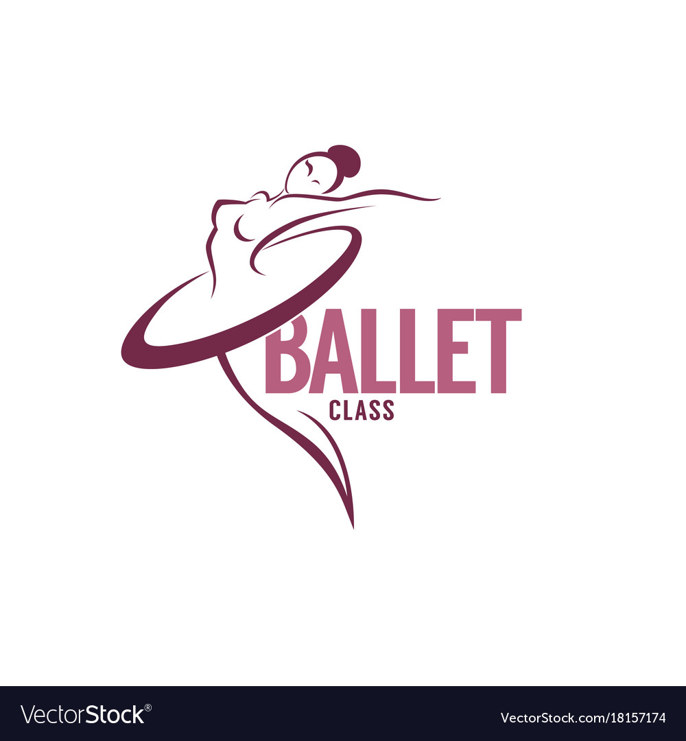 Silhouette of beauty ballet dancer logo template vector image
