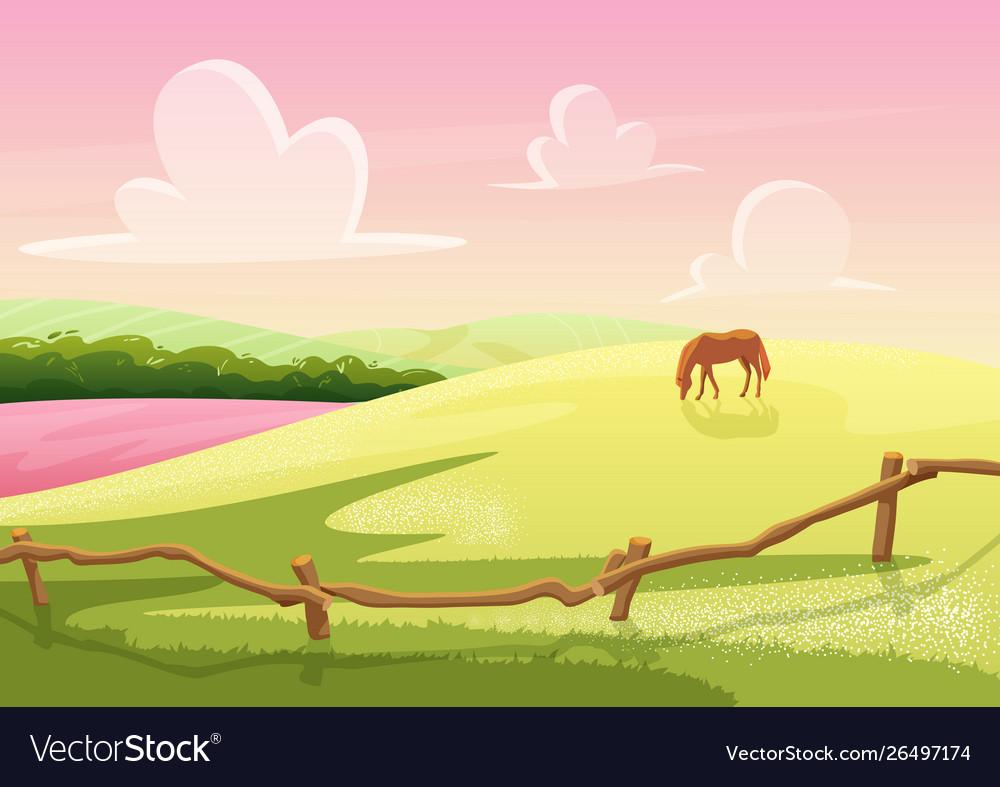 Summer cute sunny cartoon rural glade hills view