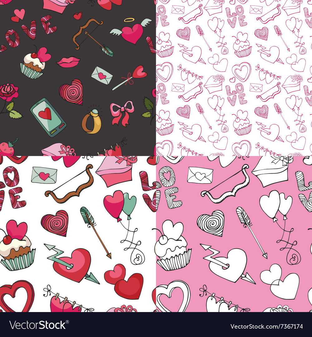 Valentine dayweddingloveSeamless pattern set