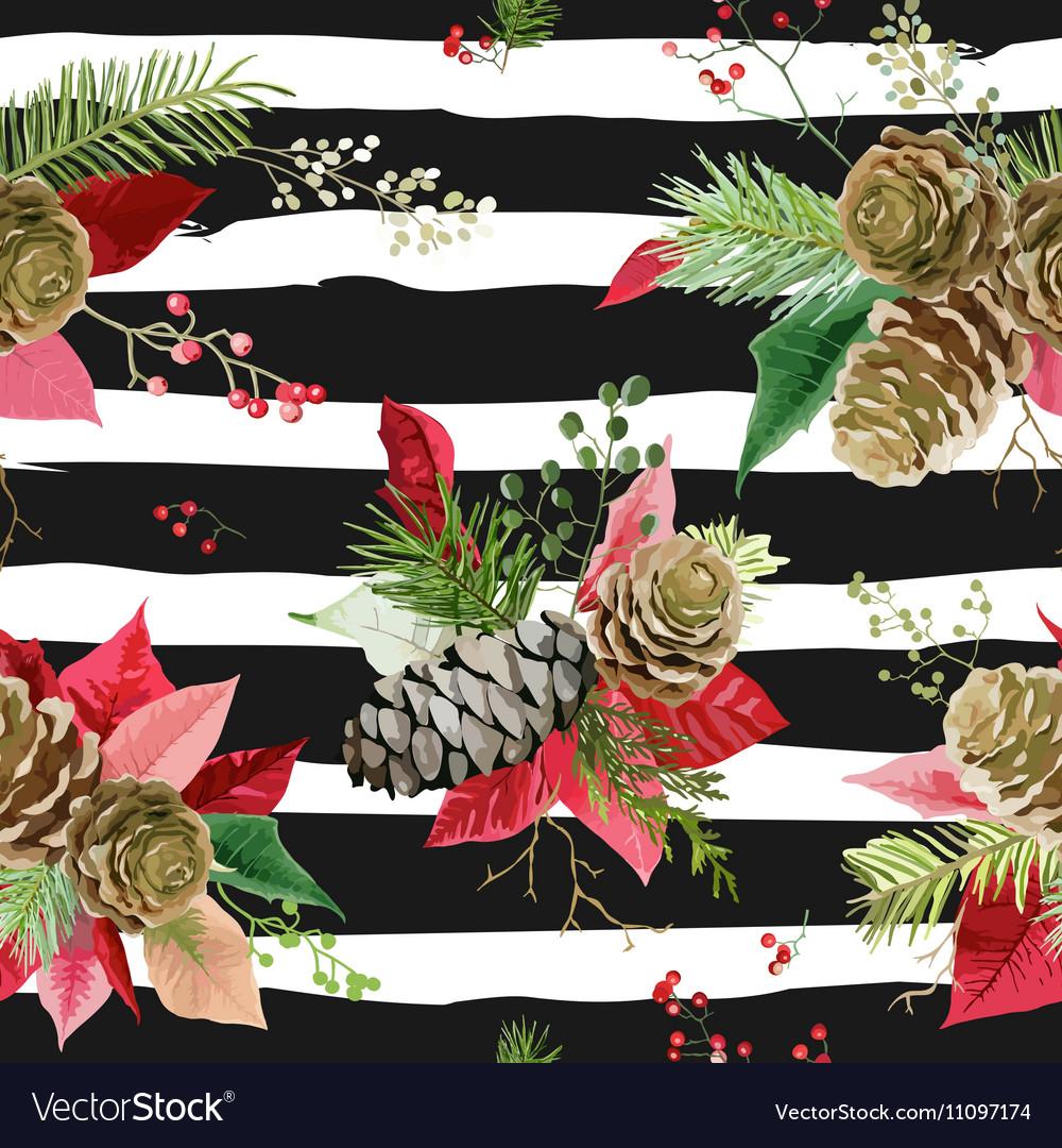 Vintage Poinsettia Flowers Seamless Background
