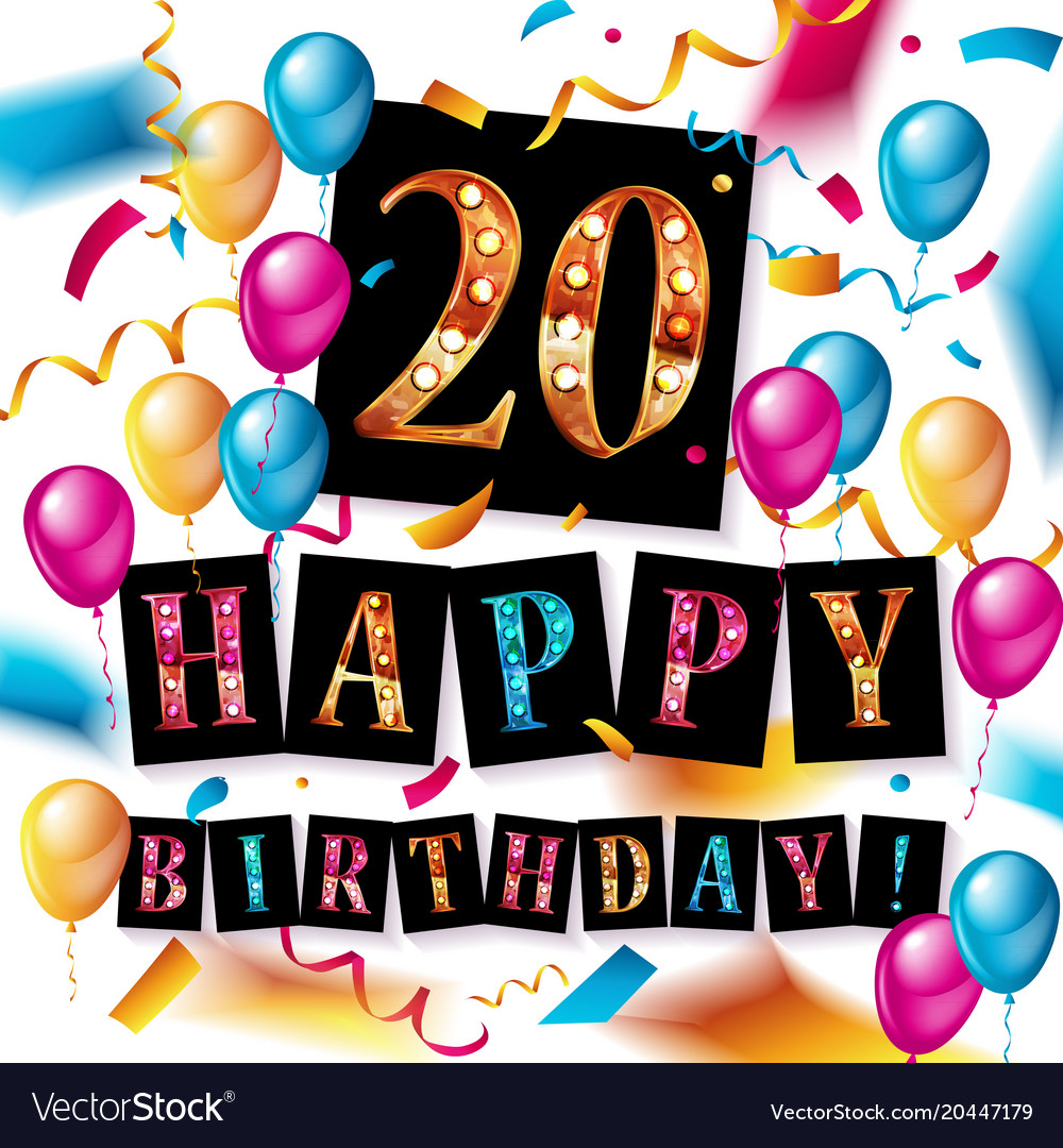 20th anniversary celebration logotype vector image