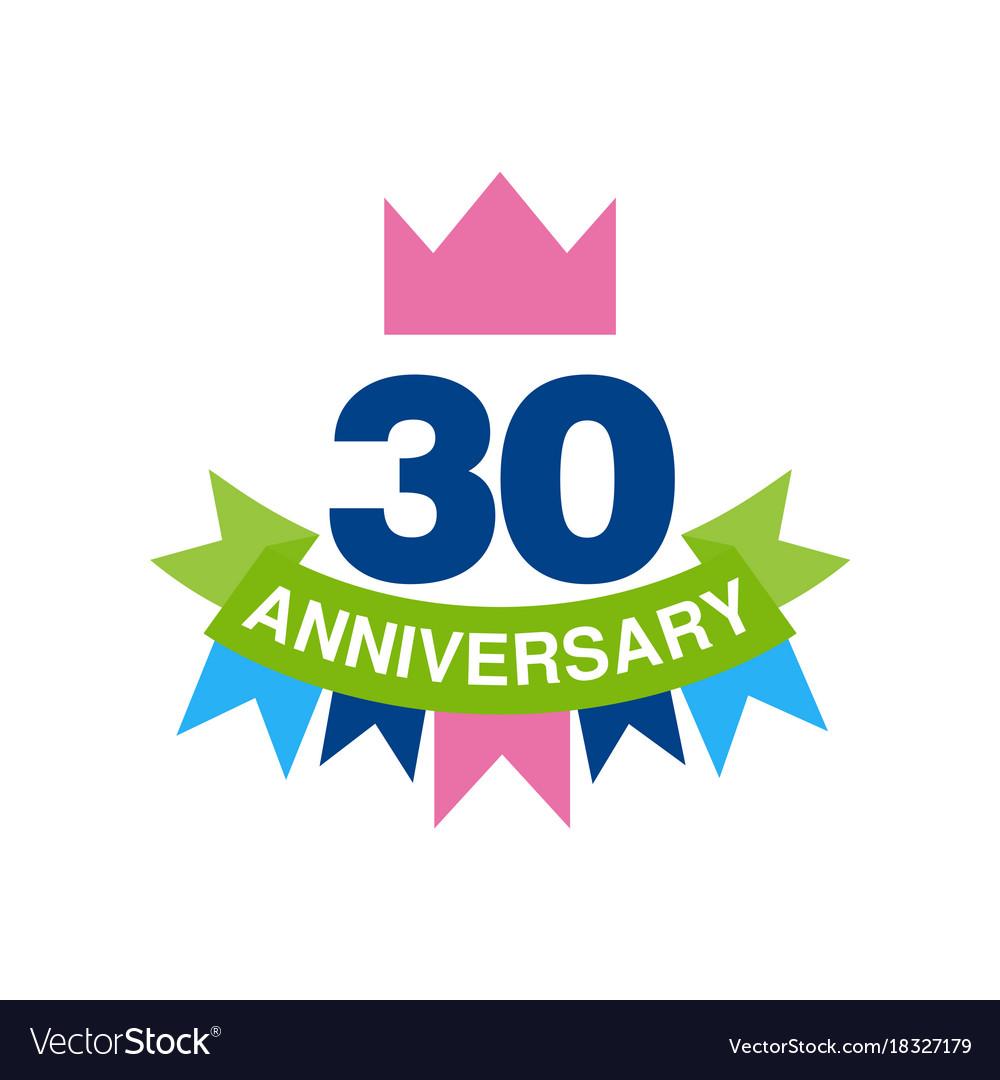 30th anniversary colored logo design happy