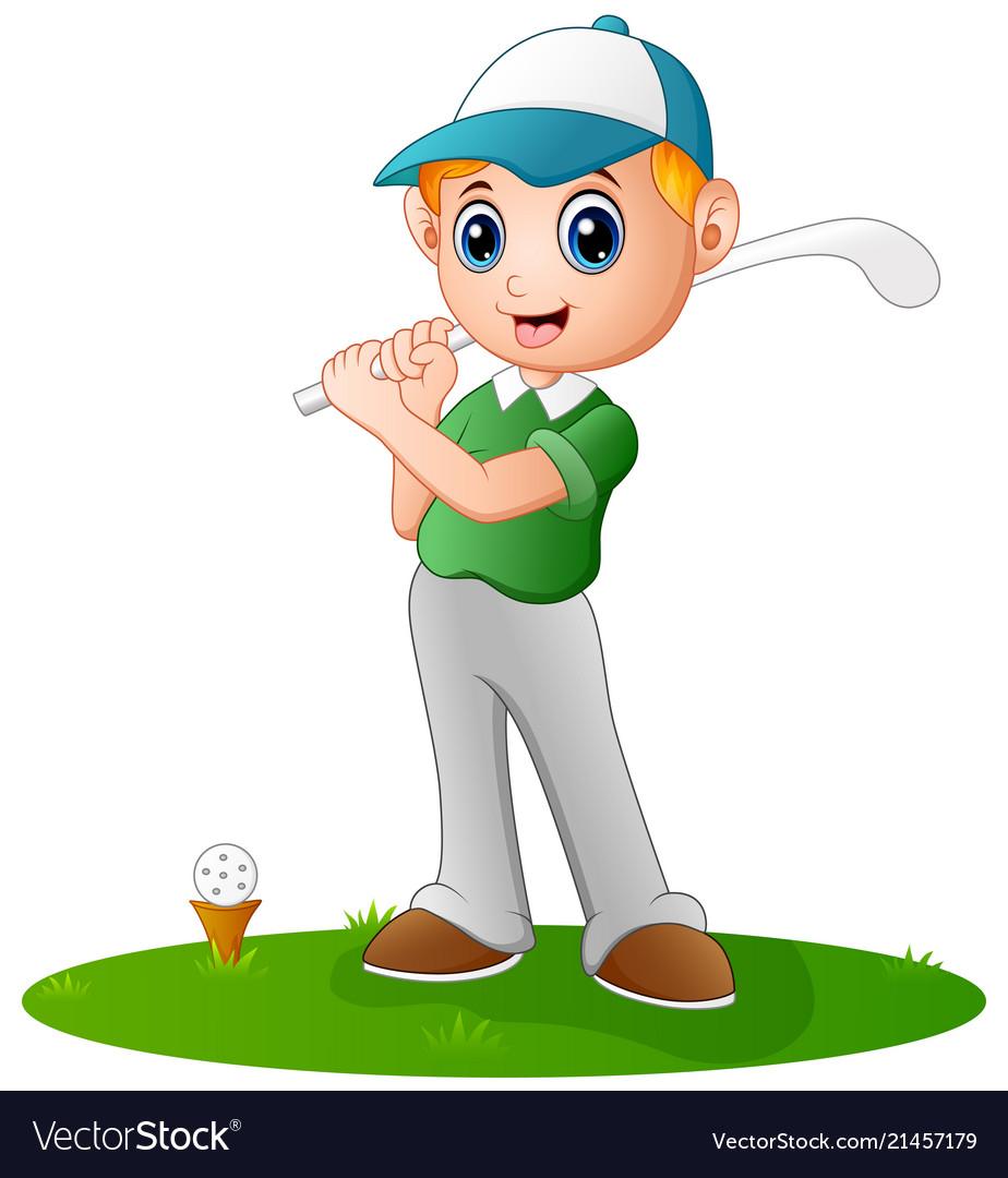 cartoon boy playing golf royalty free vector image rh vectorstock com golf vector pro golf vector uniform