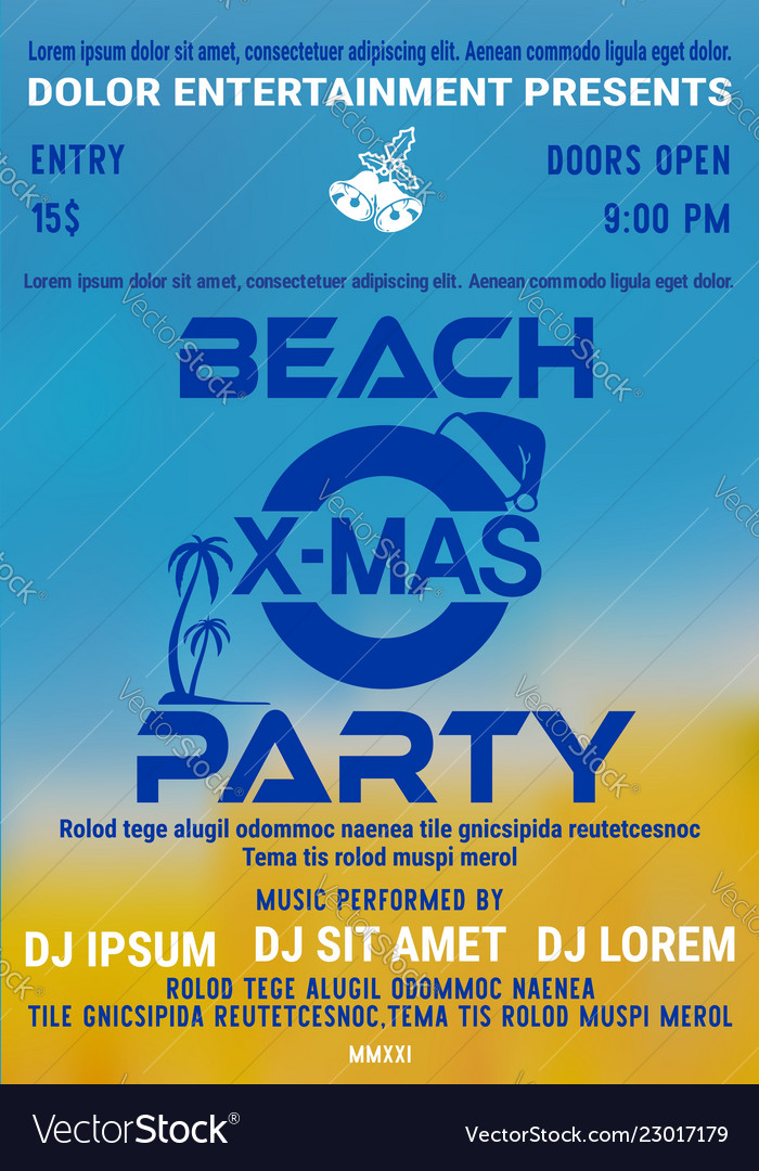 Christmas party at the beach flyer template