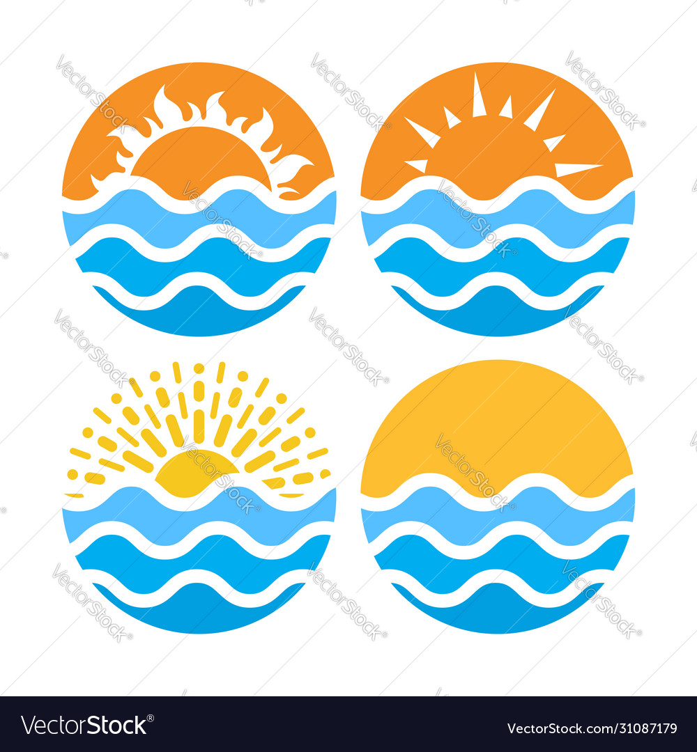 Circles with sea or ocean water and summer sun