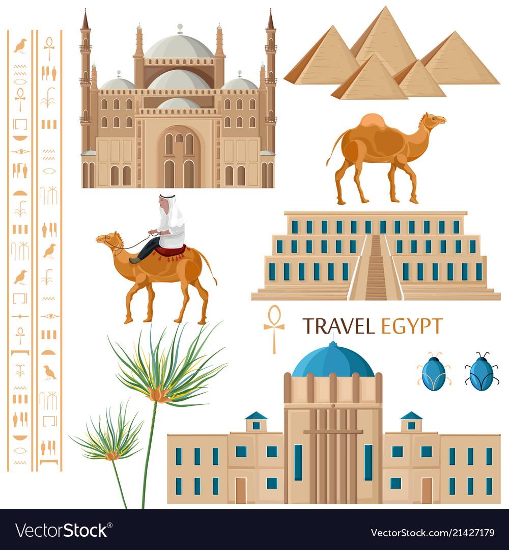 Egypt architecture and symbol elements set