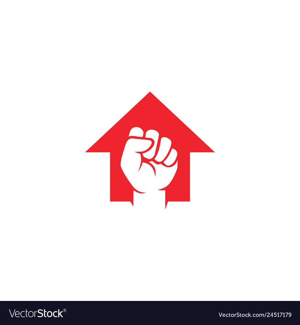 Fist hand up arrow logo icon