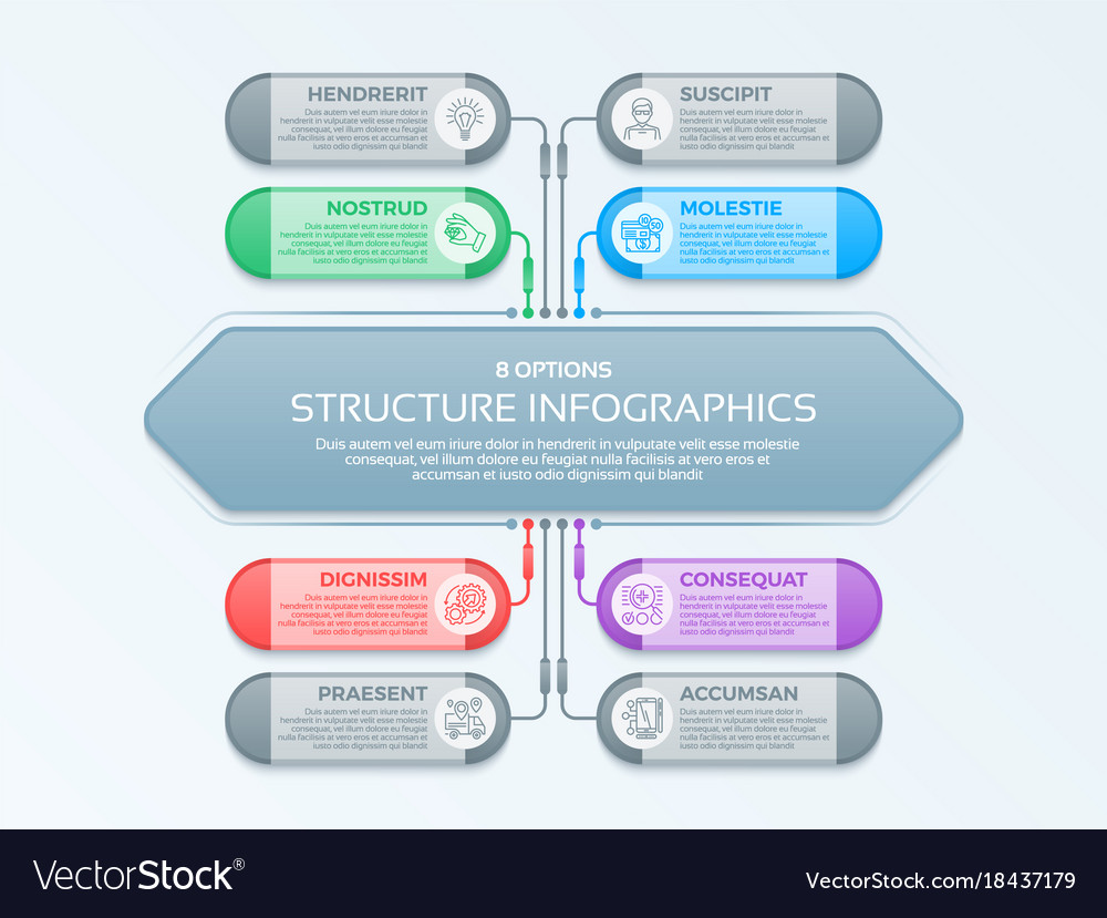 Infographics template with 8 structure elements