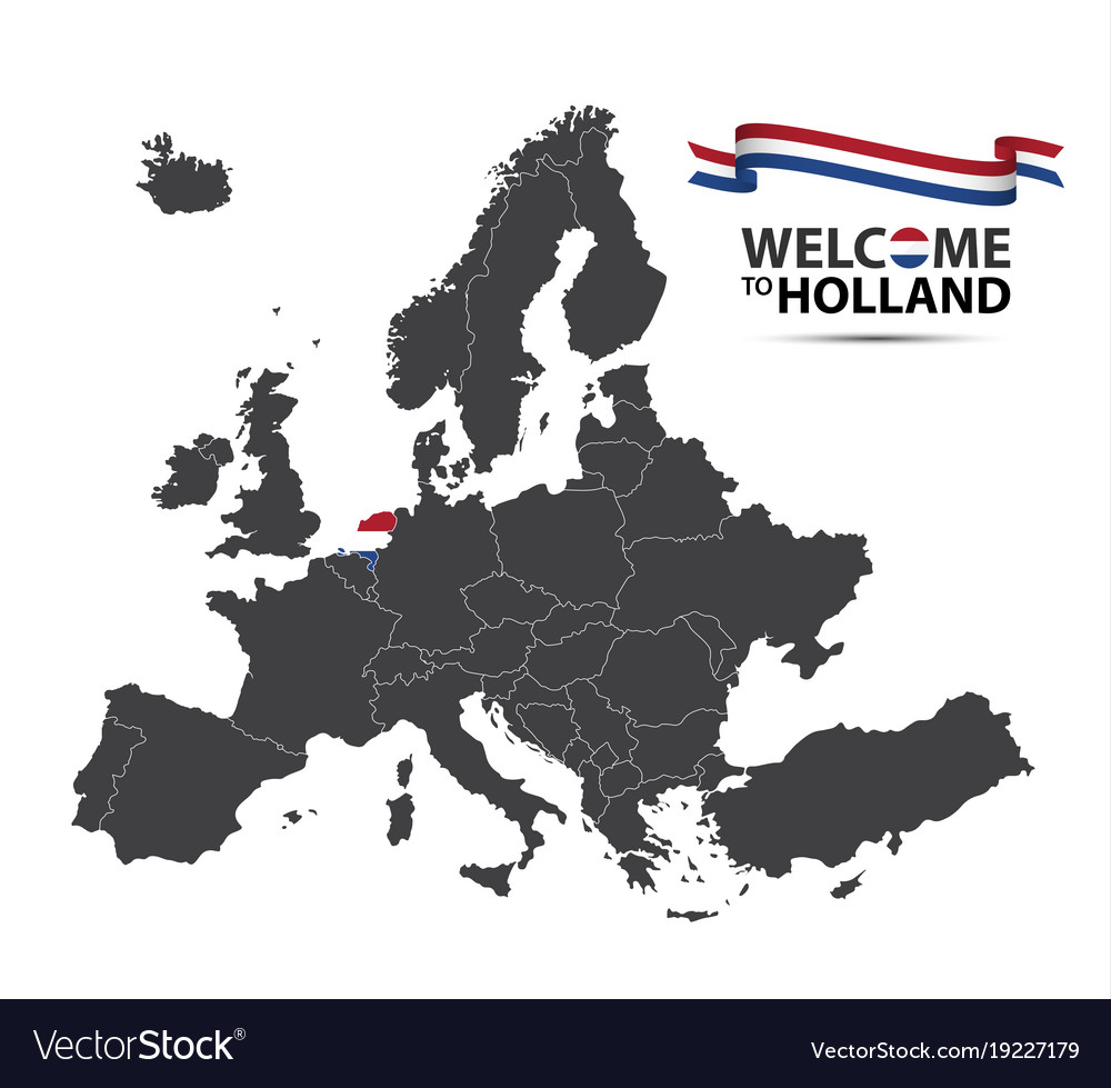Map of europe with the state of netherlands vector image