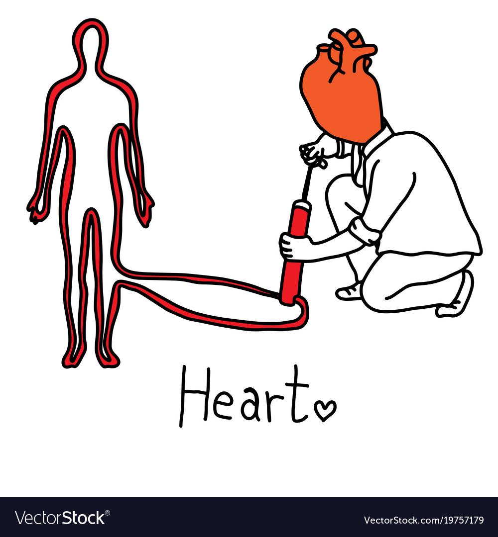 Metaphor main function of human heart Royalty Free Vector