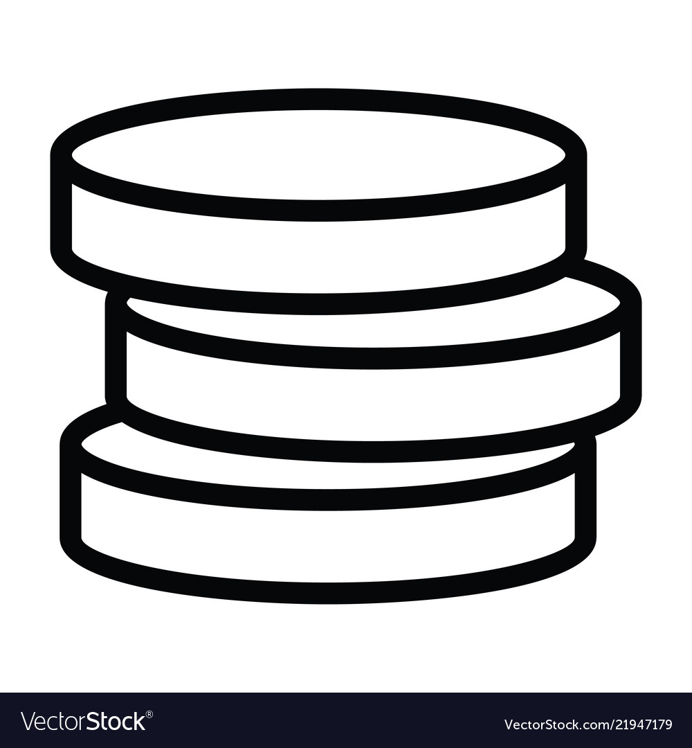 Money coin stack icon with outline style
