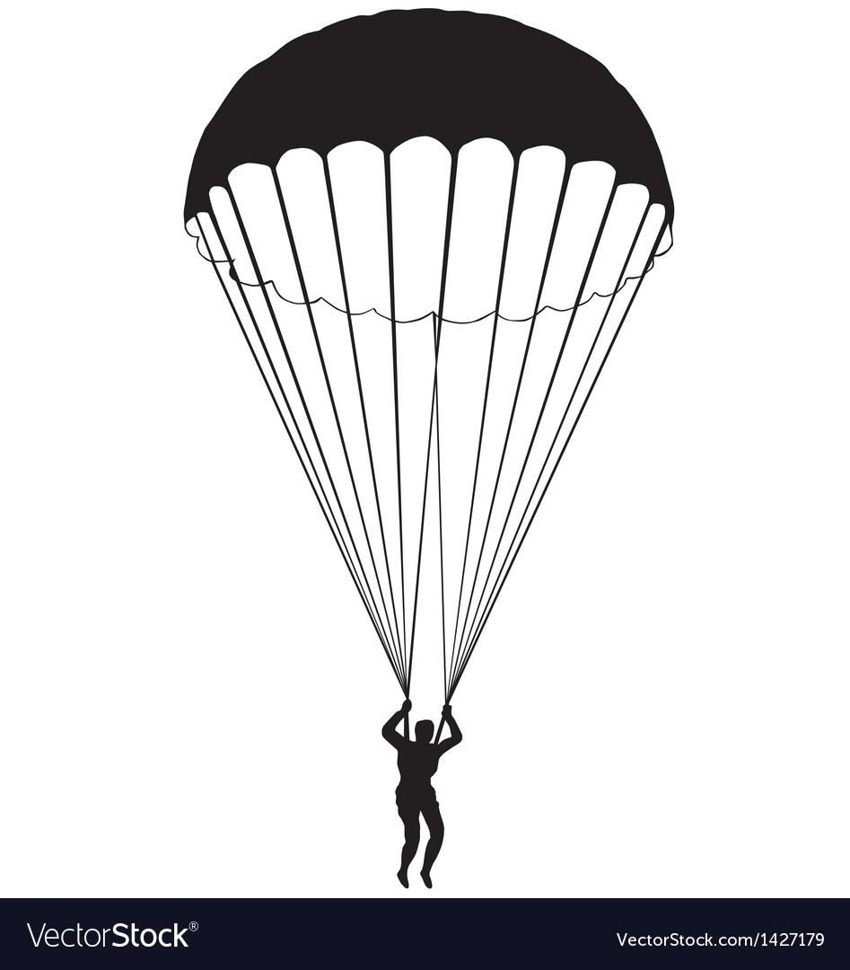 parachute silhouette royalty free vector image rh vectorstock com parachute vector graphics parachute vector free