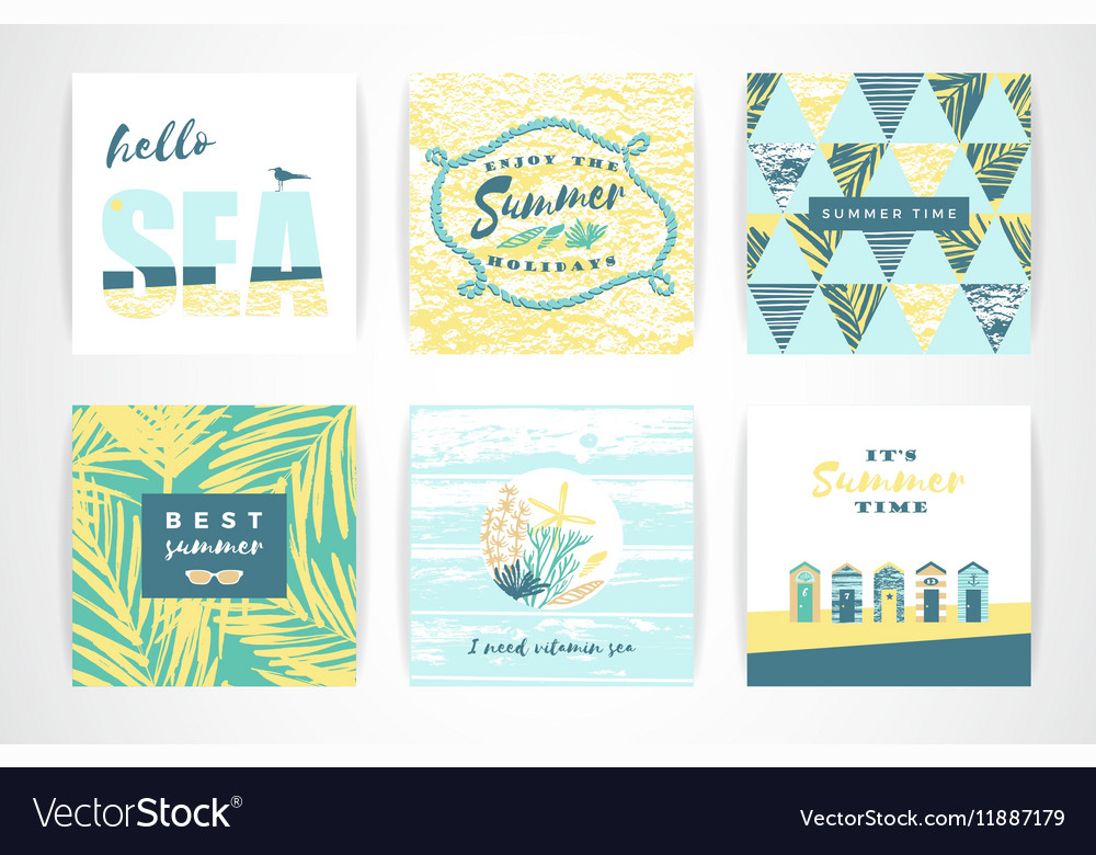 Set of summer cards with hand-drawing elements