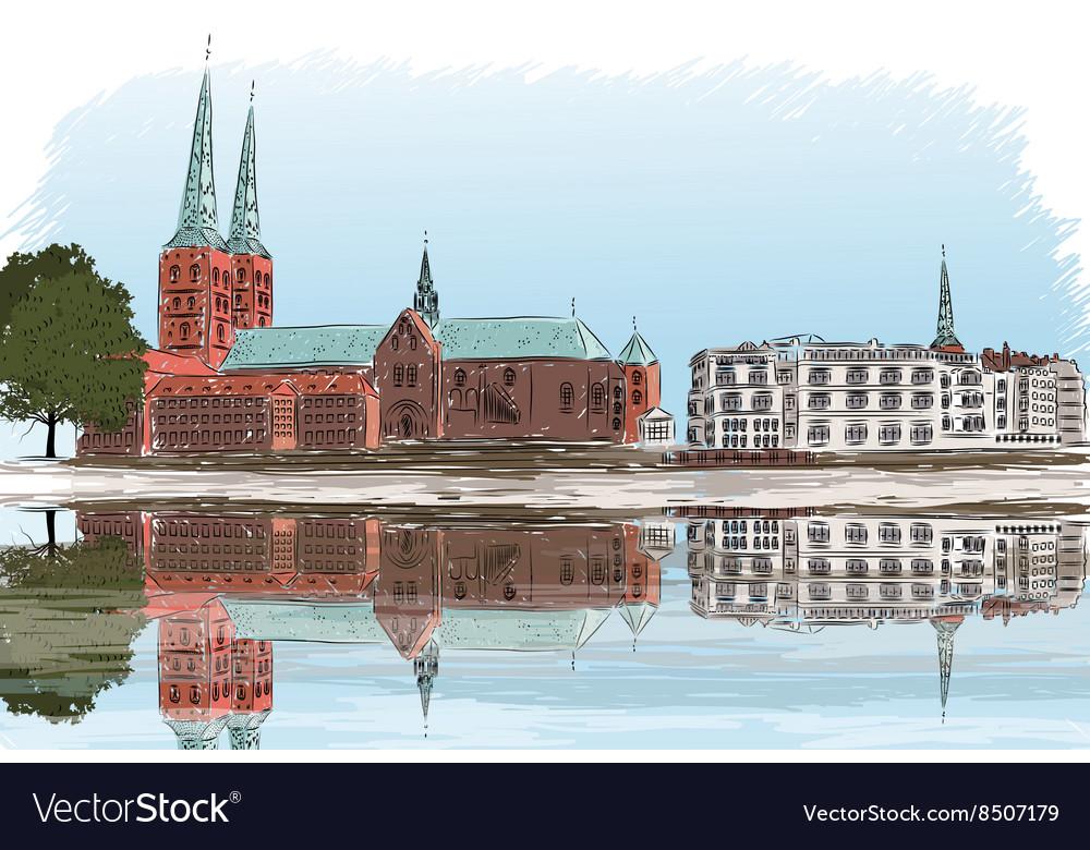 Sketch of a City Landscape vector image