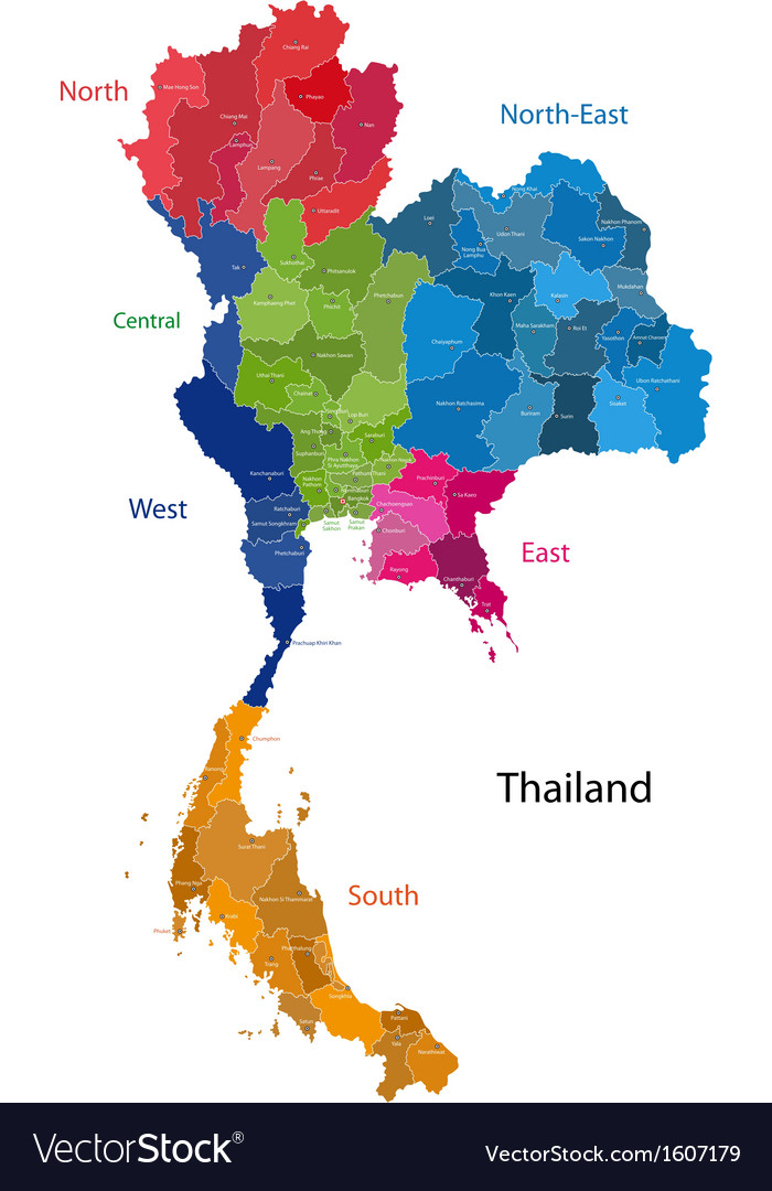 Thailand map Royalty Free Vector Image - VectorStock
