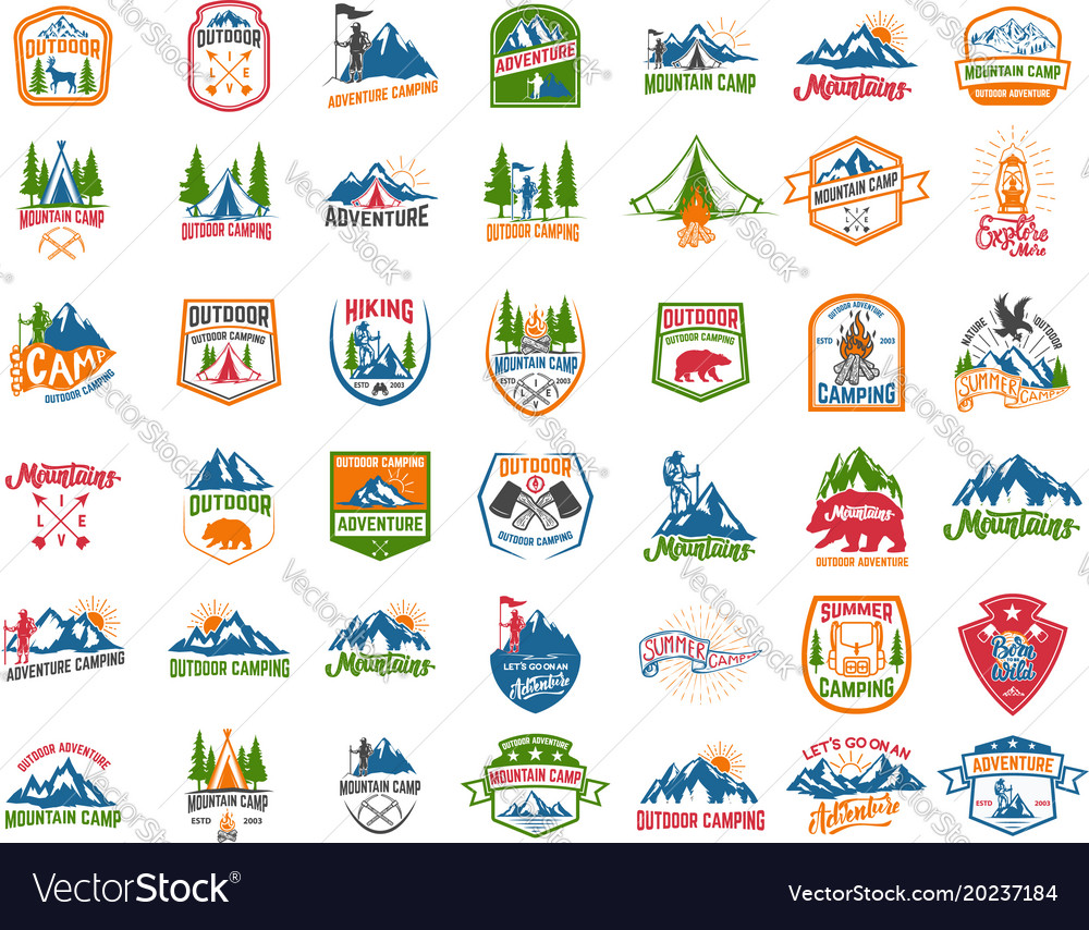 Big set of camping hiking tourism emblems design