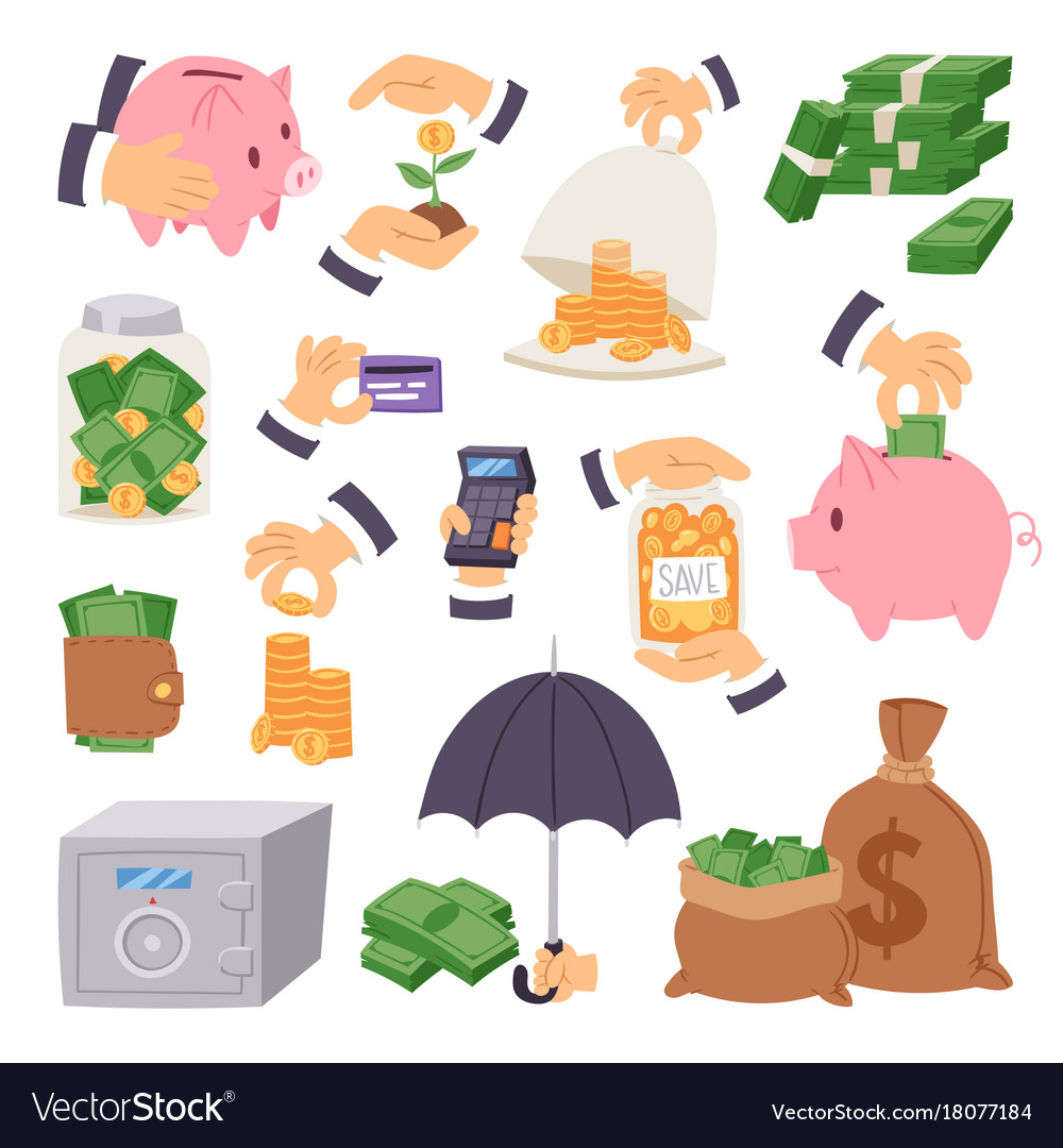 Cartoon money save symbols concept finance icons
