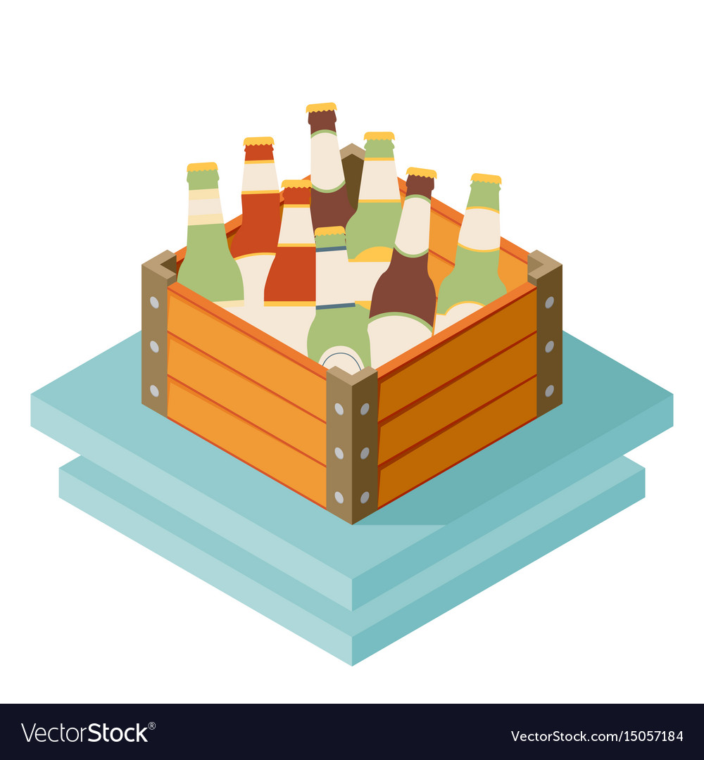 Color isometric icon with case of dark beer with