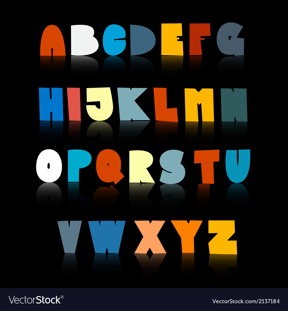 Colorful Funny Alphabet Set Isolated on Black