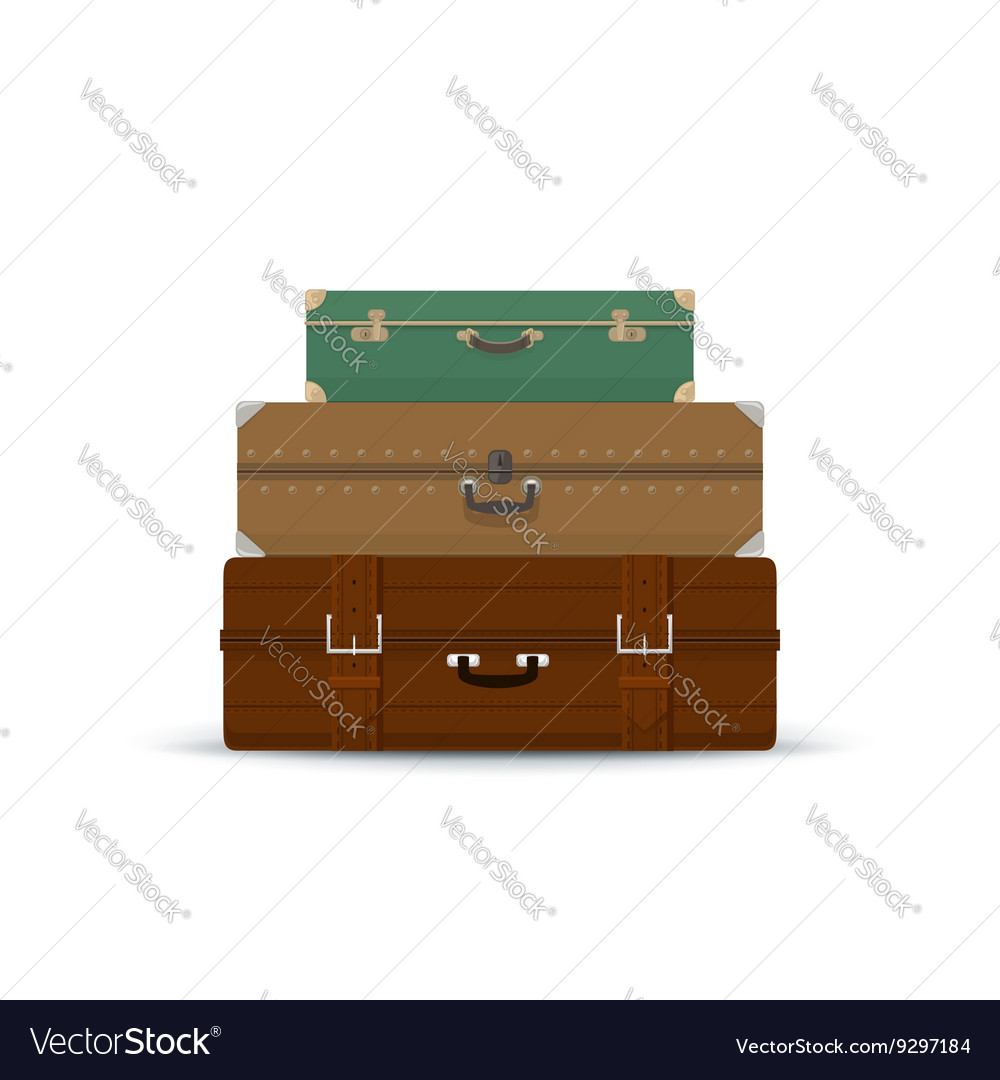 Different Retro Suitcases Isolated on White vector image