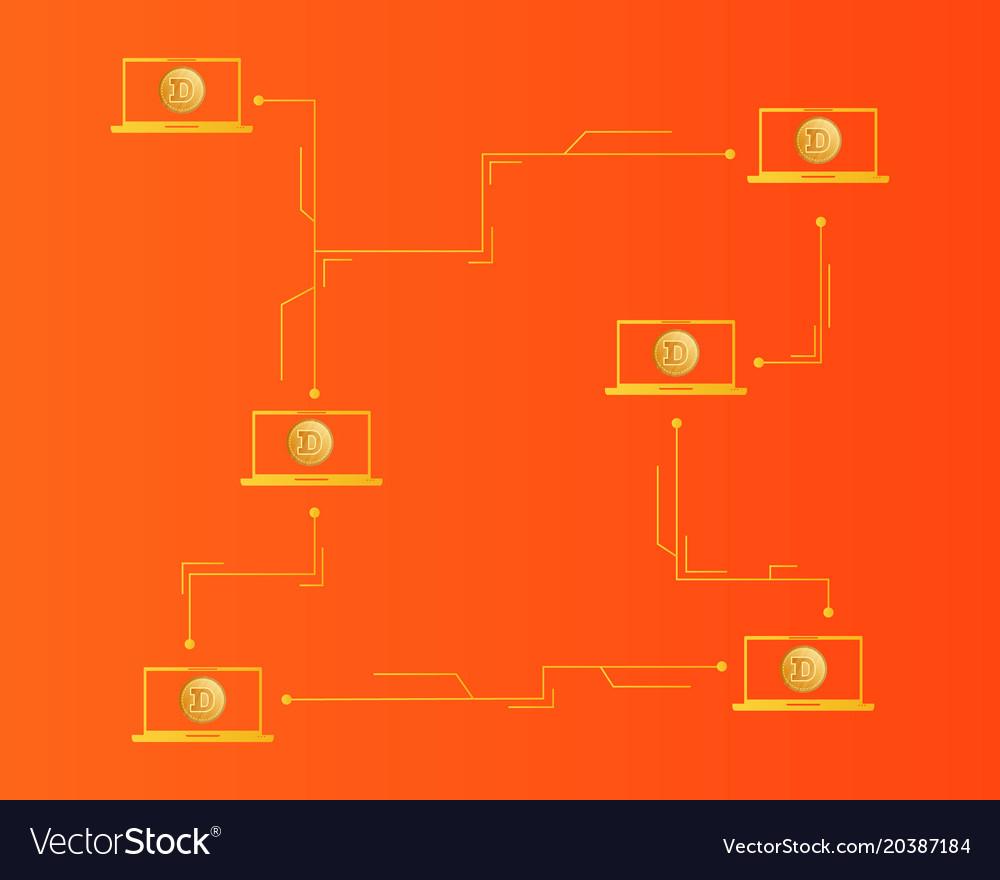 Dogecoin technology blockchain style background