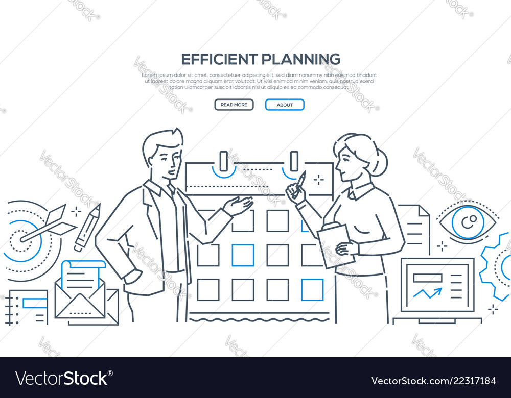 Efficient planning - colorful line design style