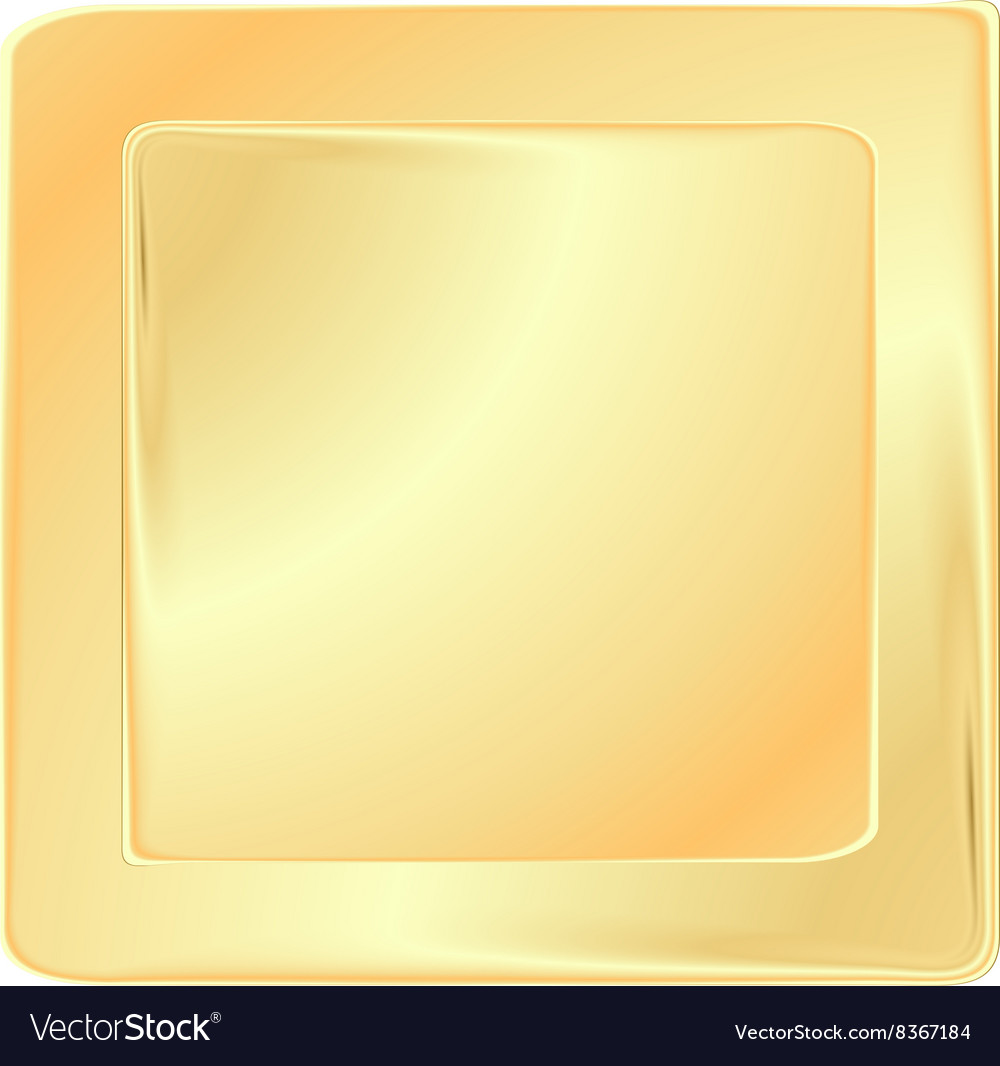 Empty golden square frame template for banners or vector image