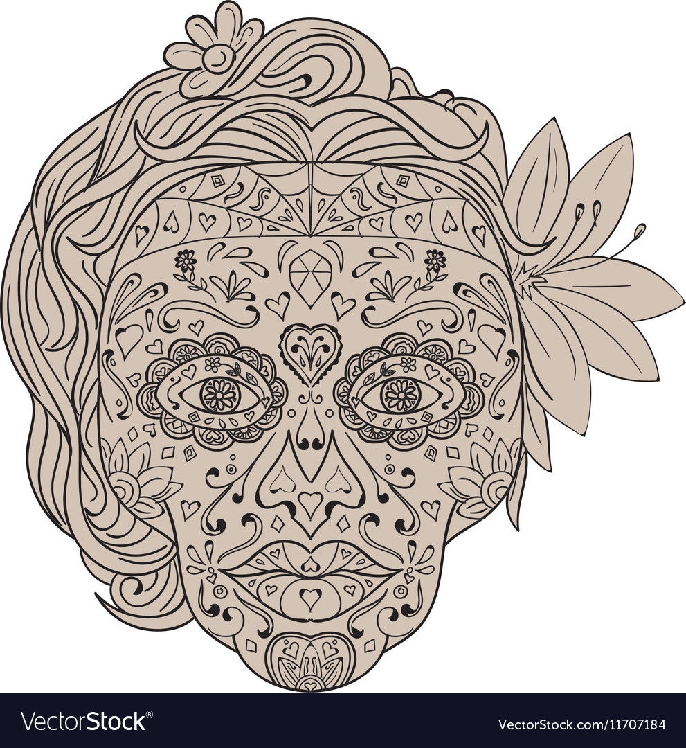 c66ee565f88dc Female Sugar Skull Calavera Retro Royalty Free Vector Image