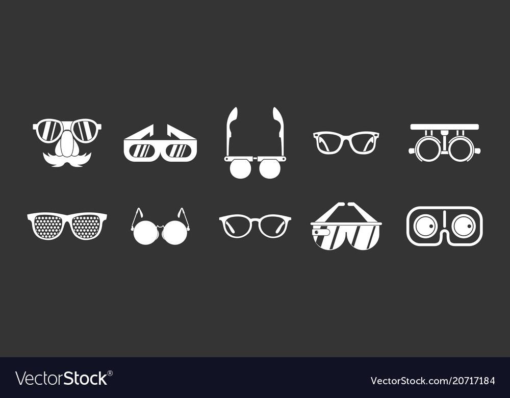 Glasses icon set grey