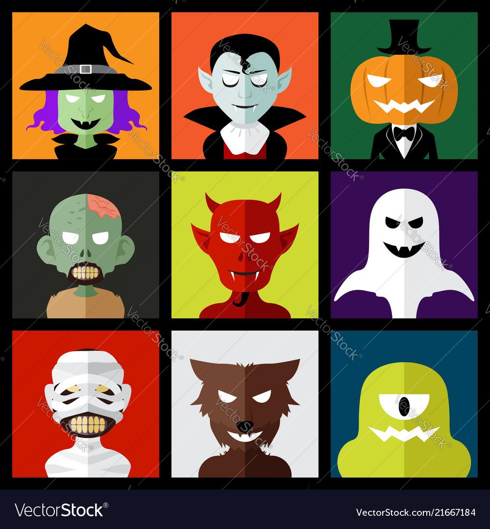 Halloween monster icons