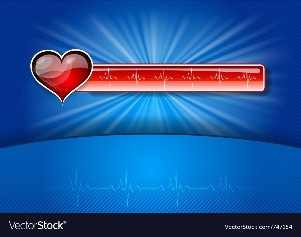 Heart cardiogram on the blue background