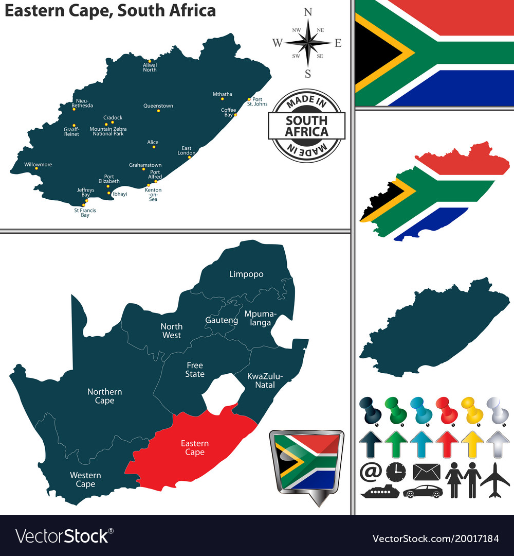 Map Of Eastern Cape South Africa Royalty Free Vector Image