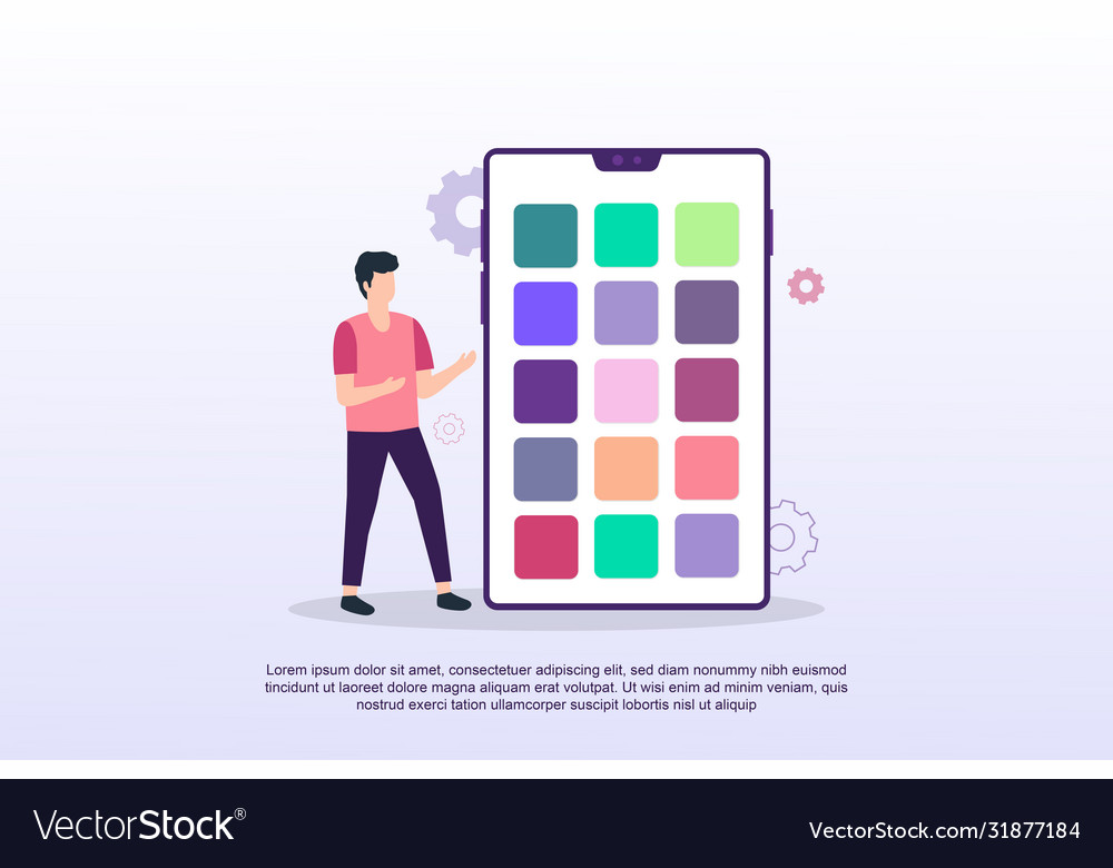 Mobile application concept with tiny people can