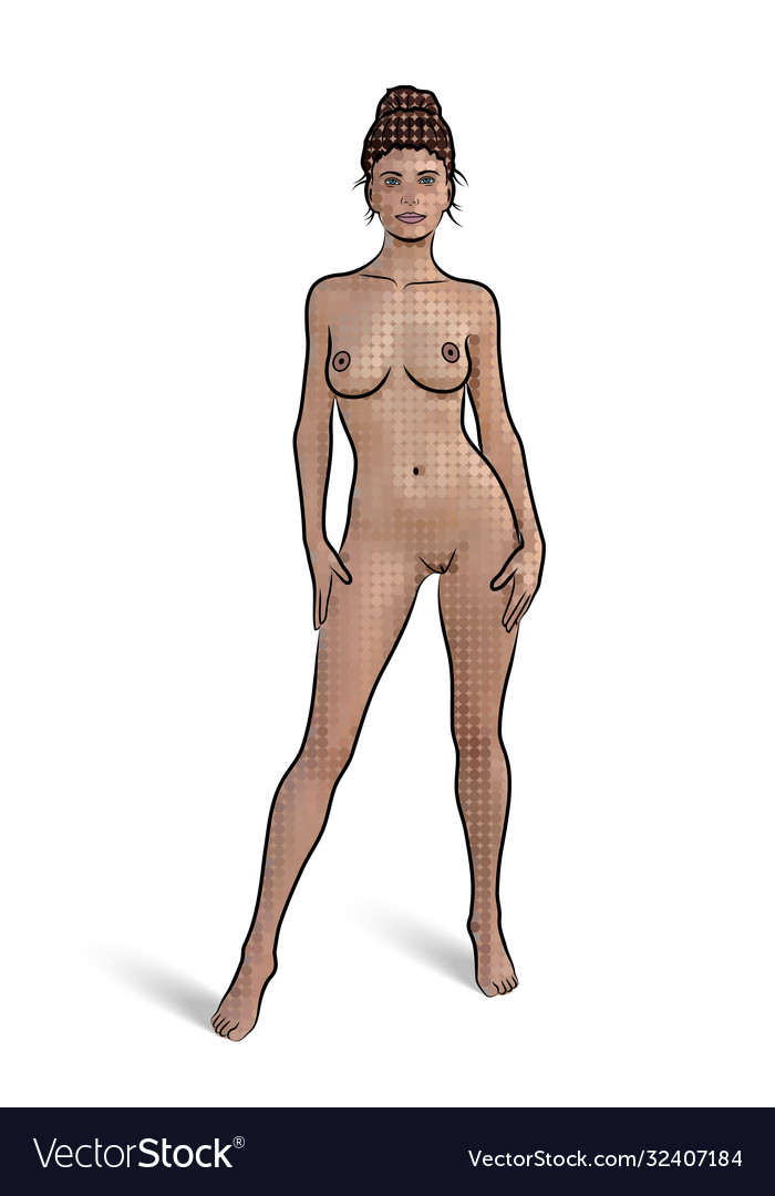 Naked woman in standing pose on white background