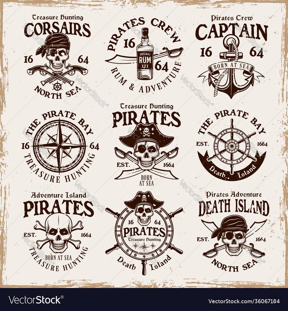 Pirates set emblems labels badges or