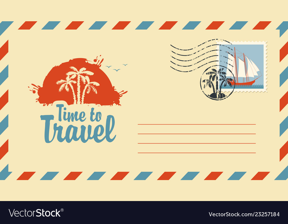 Postal envelope on theme travel with stamp