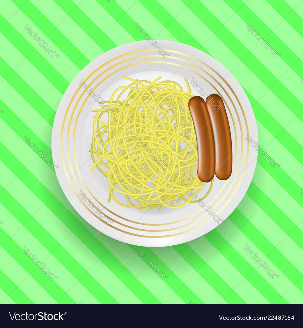 Realistic boiled sausages with spaghetti
