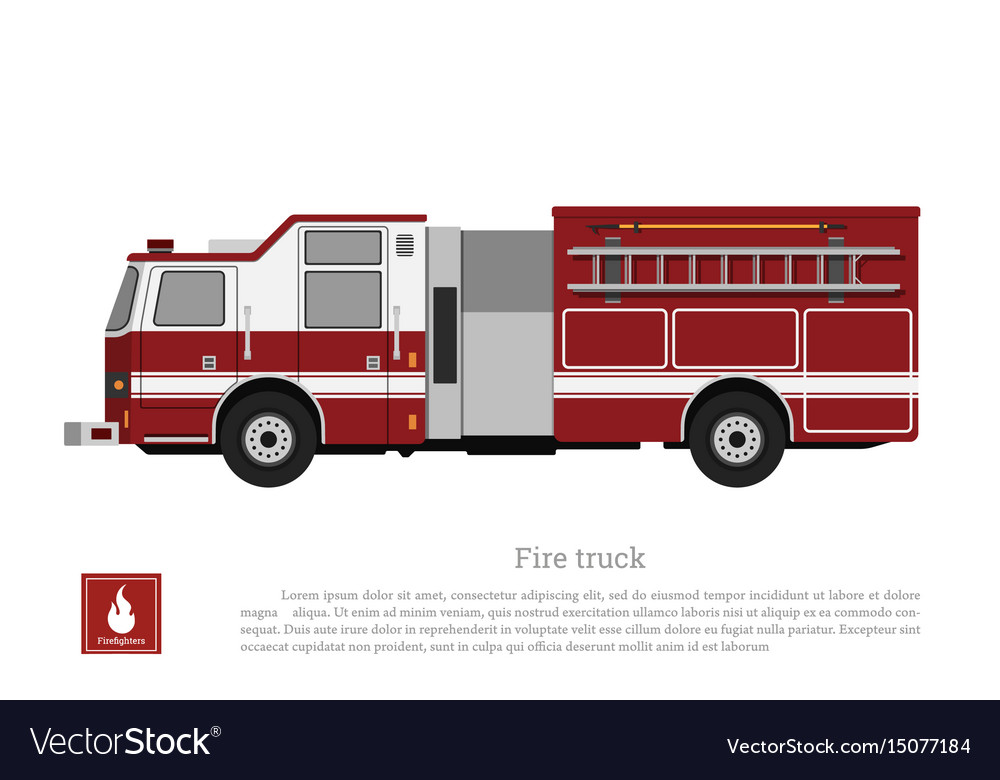 Red fire truck in a flat style