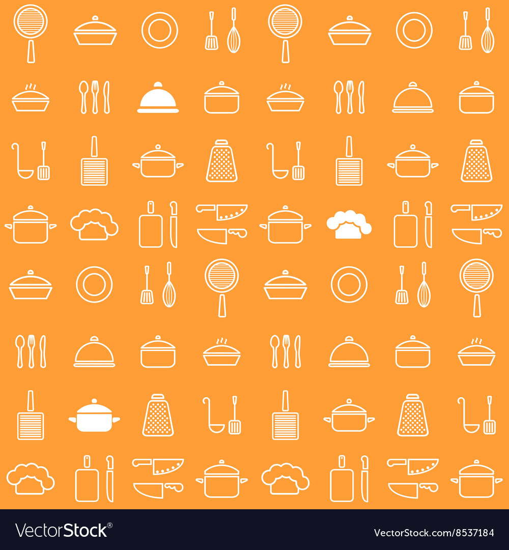 Seamless line kitchen icons orange background vector image