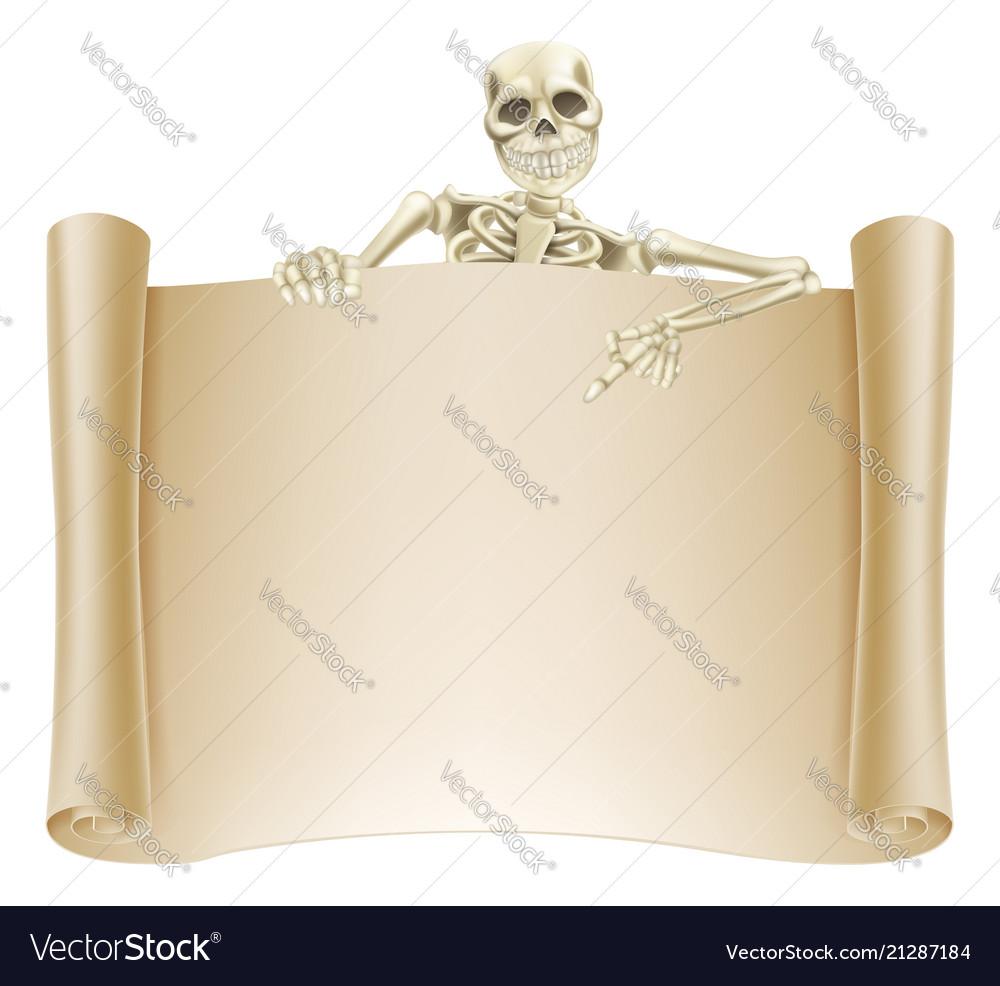 Skeleton scroll sign
