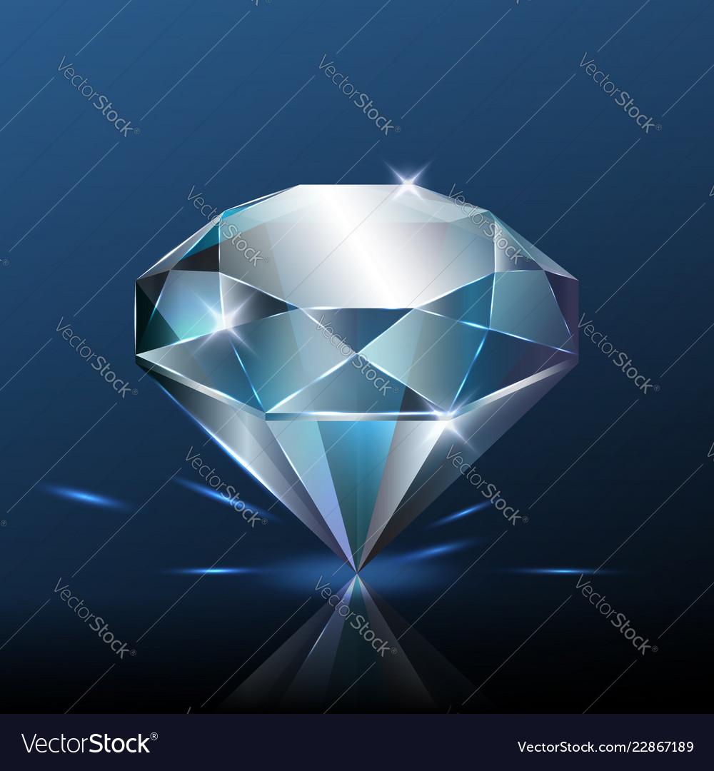 Big pure blue diamond with glitter