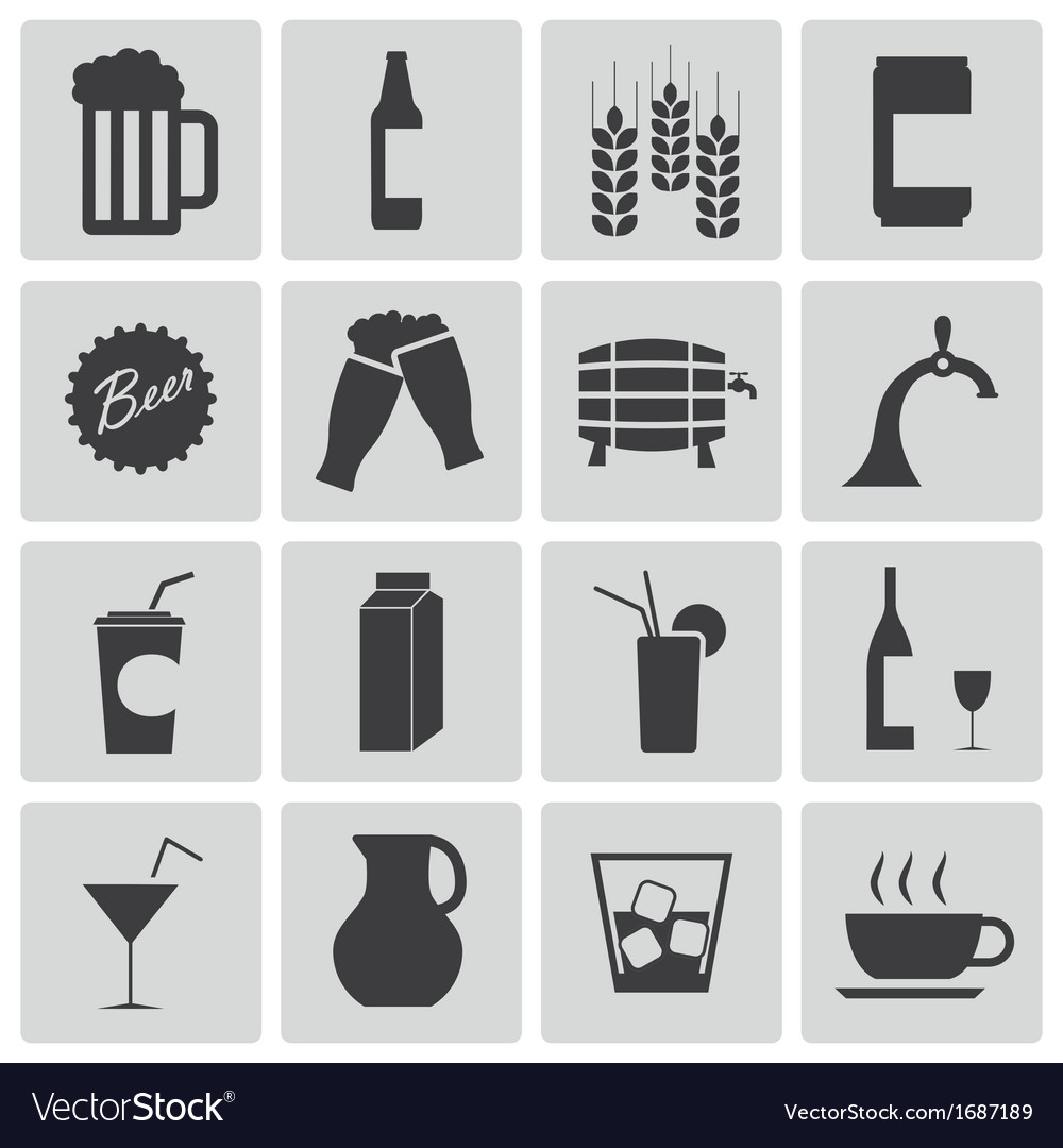 Black beer and beverage icons set