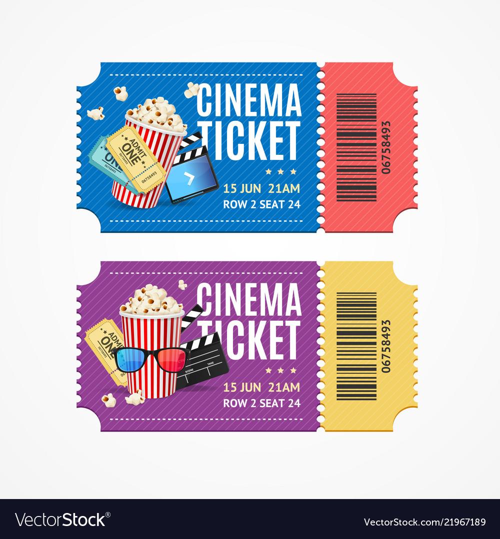 Cinema movie tickets set with elements