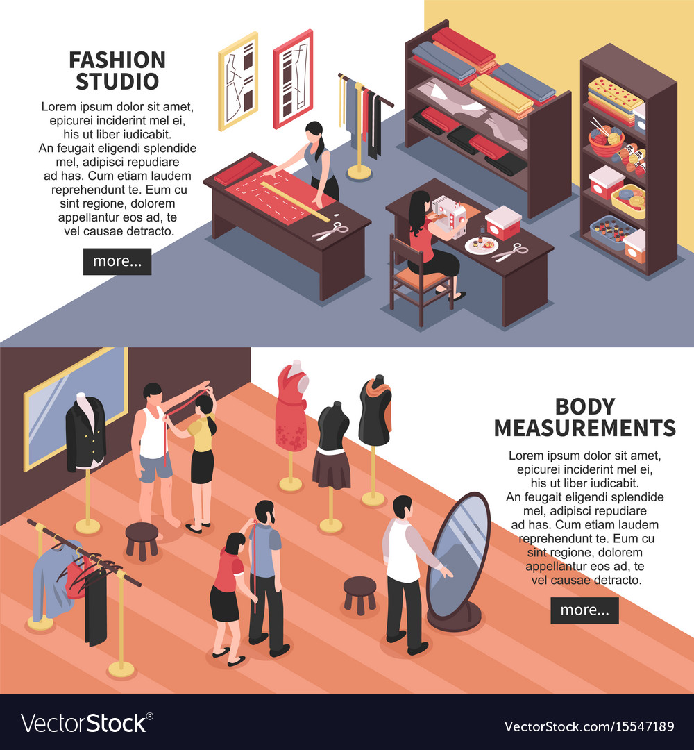 Fashion studio and body measurements banners vector image