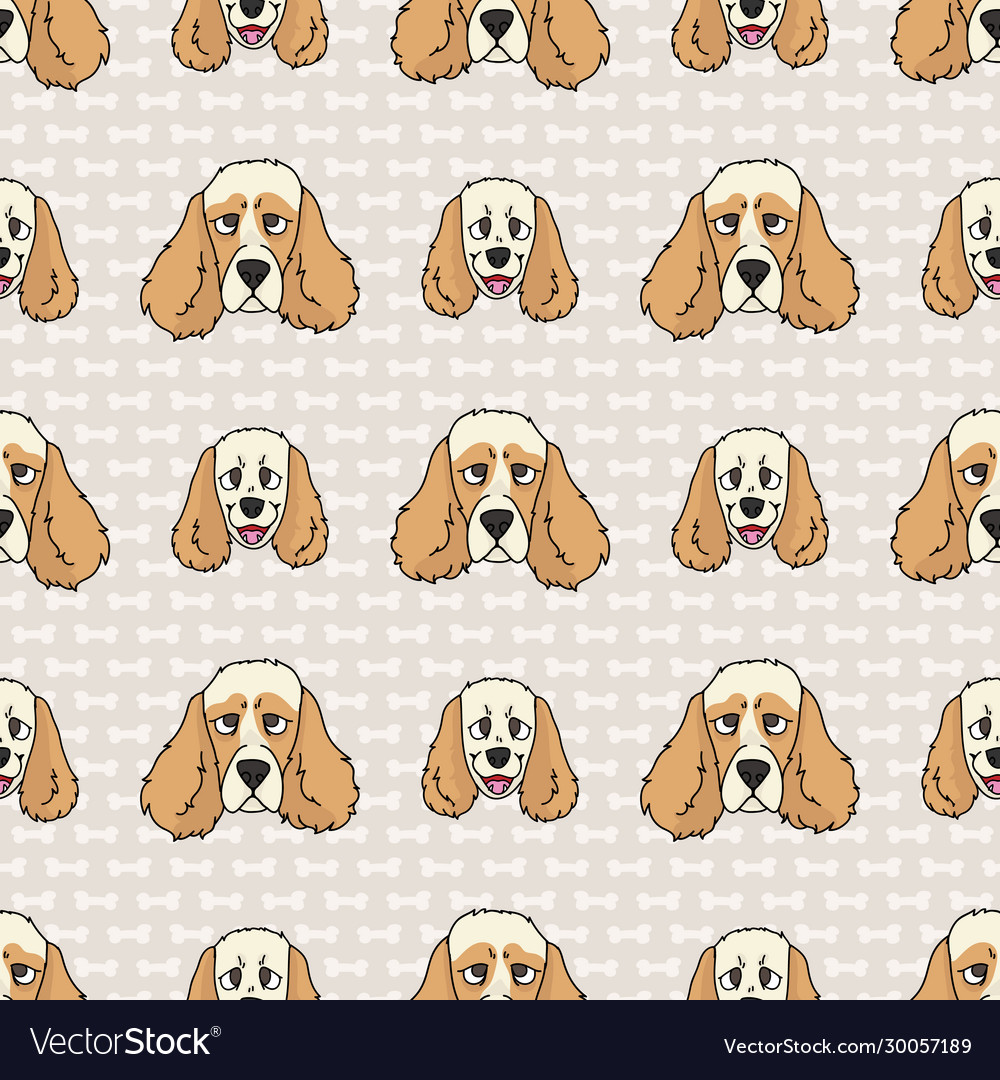 Hand Drawn Cute Cocker Spaniel Puppy And Dog Face Vector Image