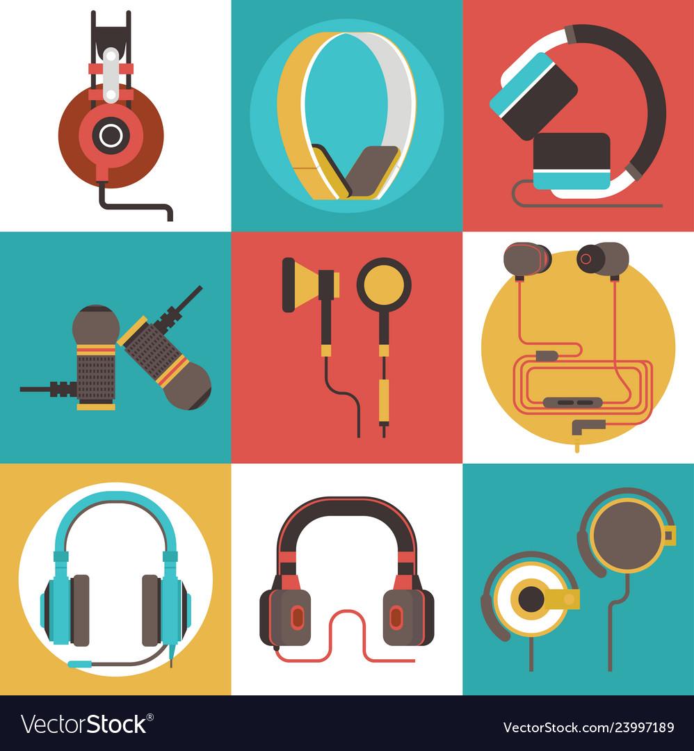 Headphone seamless pattern headset listening to