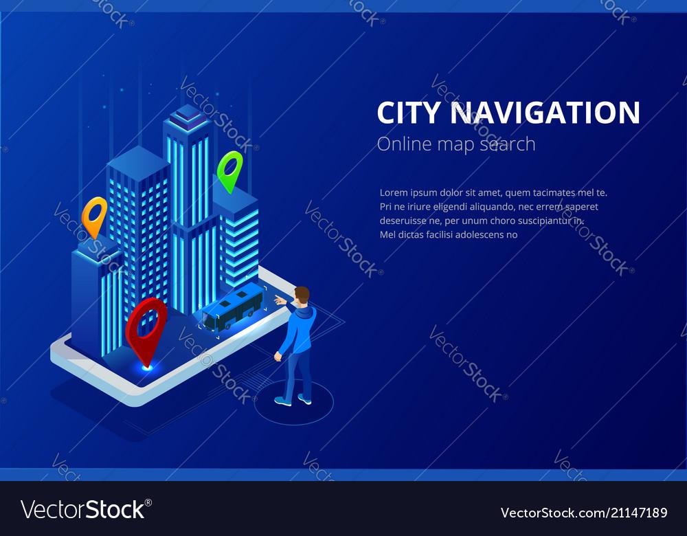 Isometric gps satellite navigation web banner