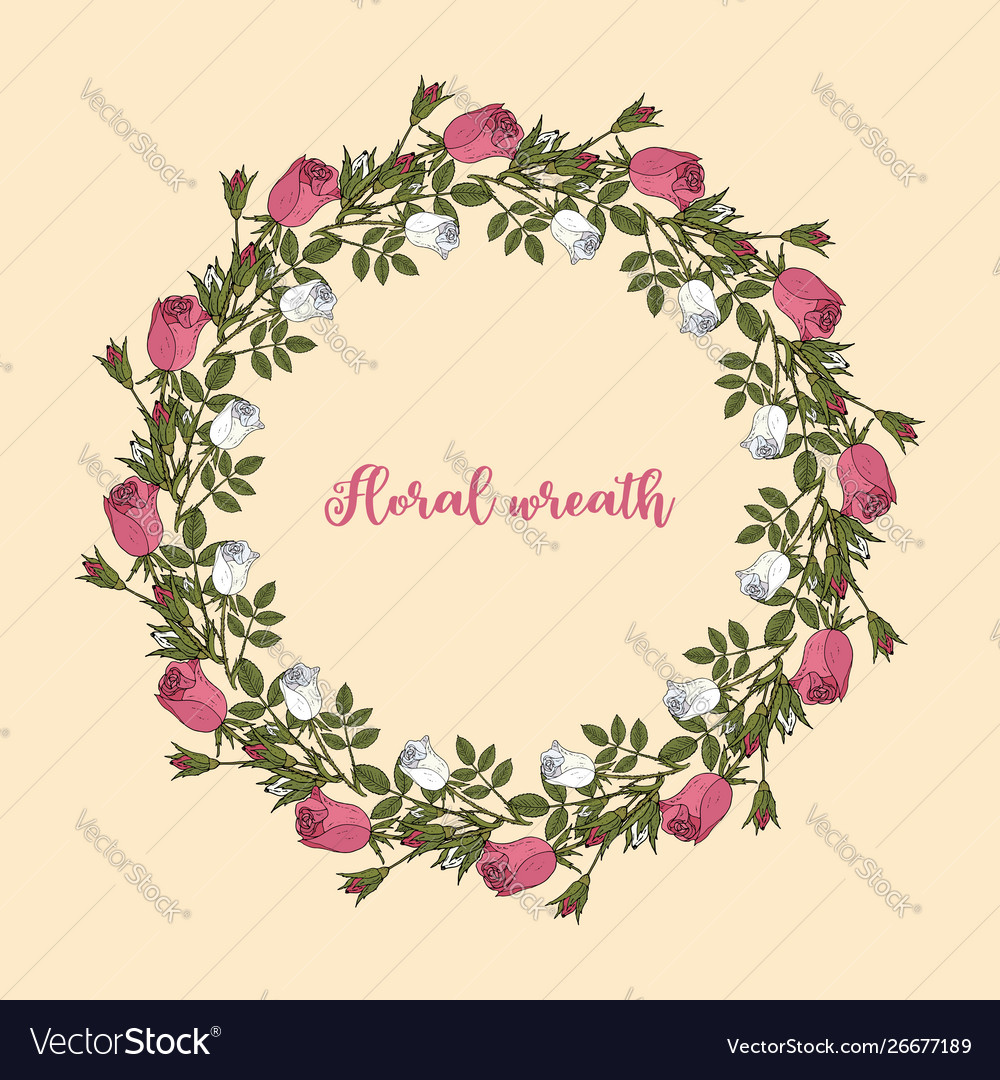 Pink and white roses wreath