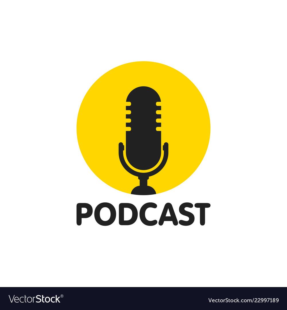Podcast flat icon logo